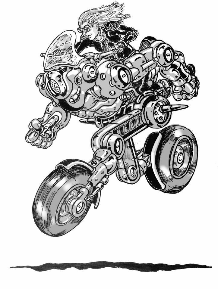 Vincent bryant robo moto grey scale