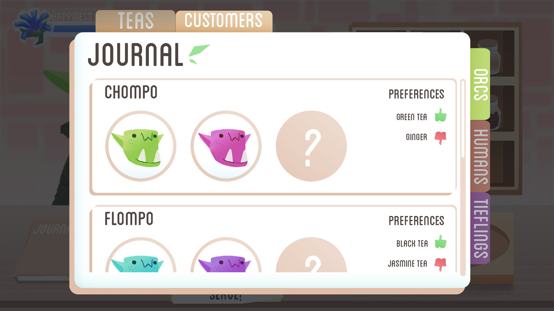 Customer tab has much more room per entry to show off the character portrait art. Otherwise, it continues the rounded aspect of the interface to reflect cuteness and friendliness.