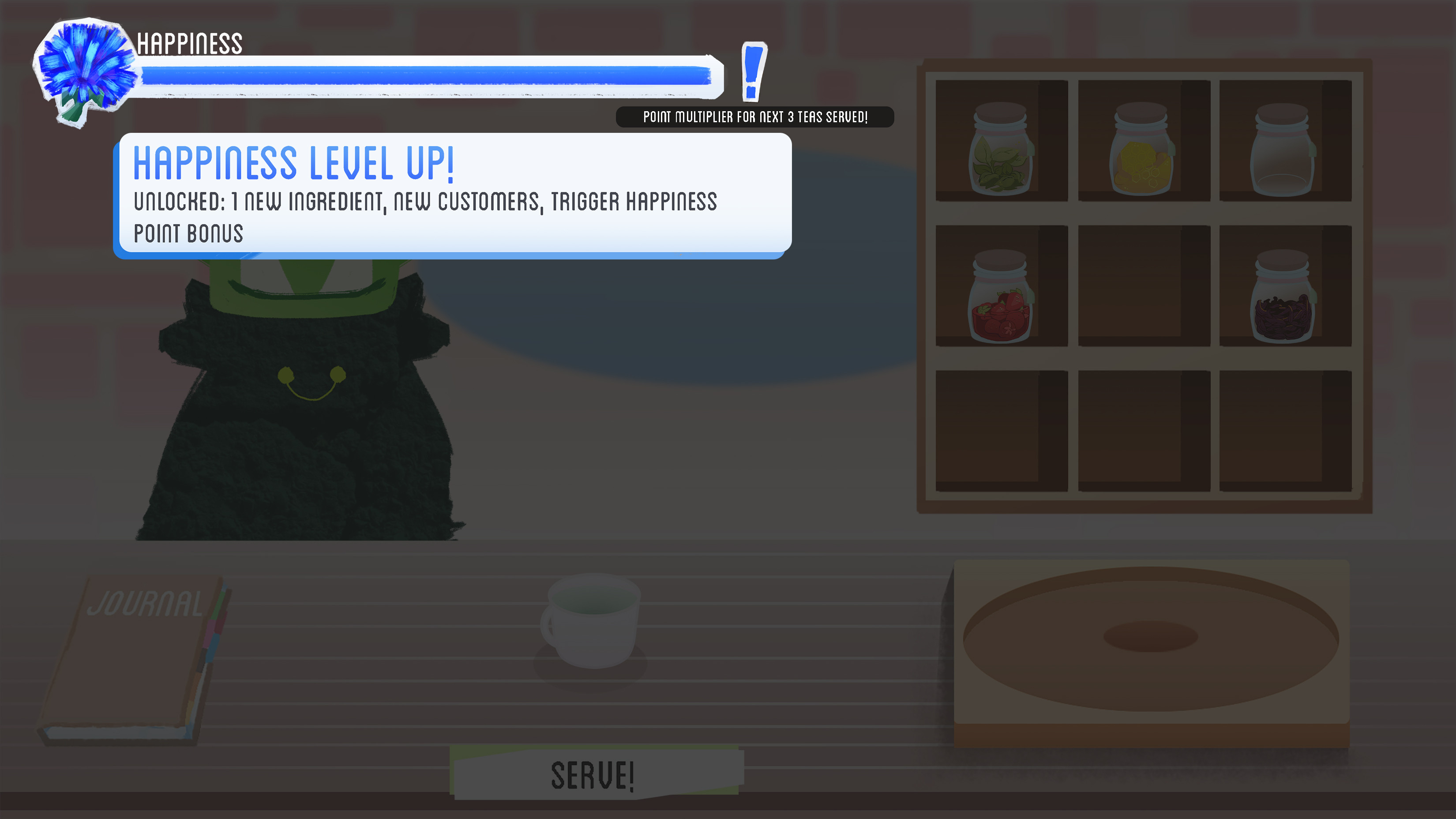 Leveling up can occur after the player fills up the bar, which upgrades the flower icon on the left of the bar as well as the flower in the shop front.