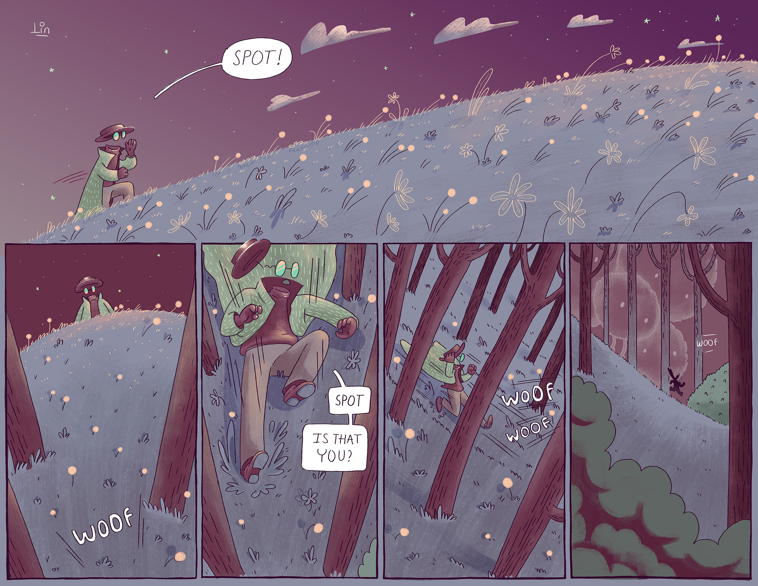 A page of comic I'm working on.  Hope you like it! =) -  The Invisible man desperates looking for his lost dog - Spot. -