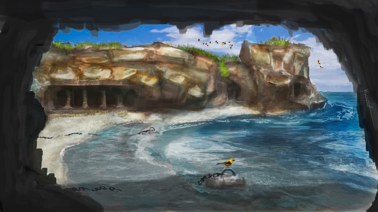 Practicing water and rock painting