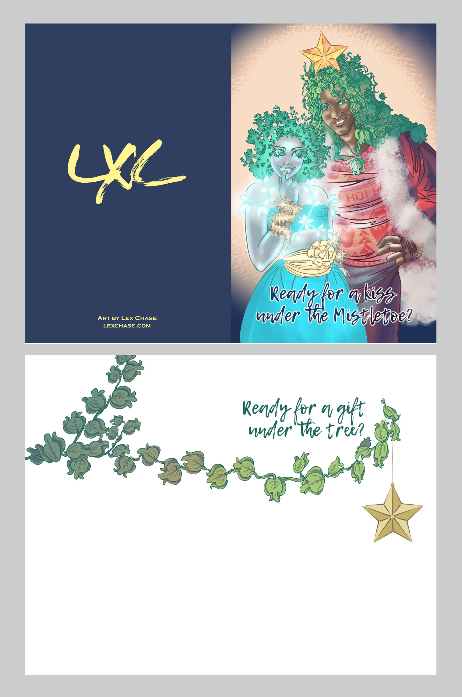 2018 Holiday Card Design Print Layout featuring exterior and interior