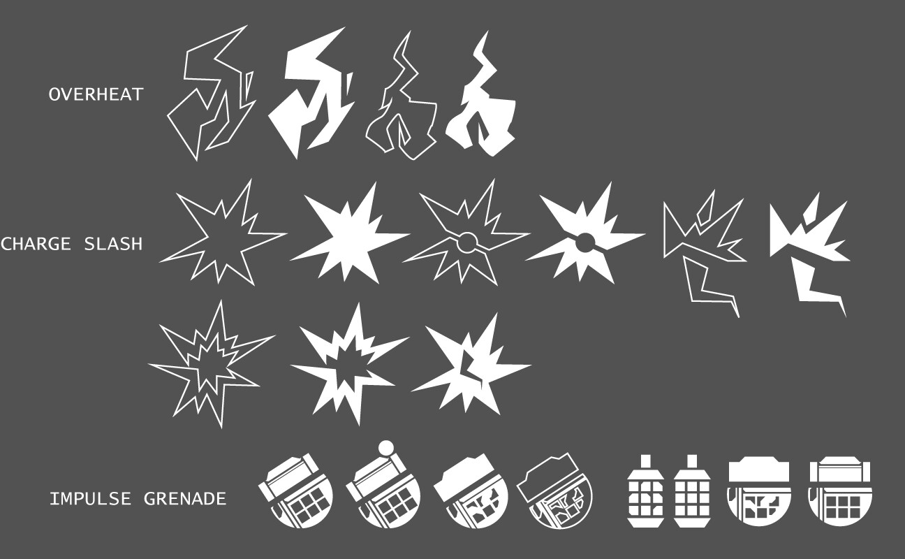 Different designs for the three abilities in the game: Overheat, Charge Slash, and Impulse Grenade