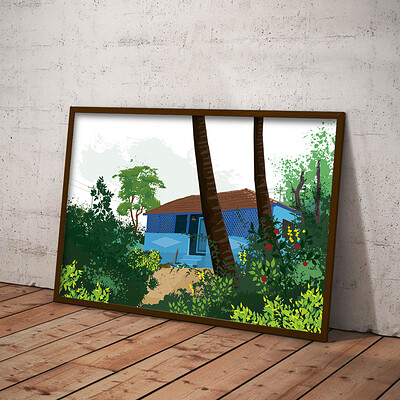 Rajesh r sawant blue house with trees