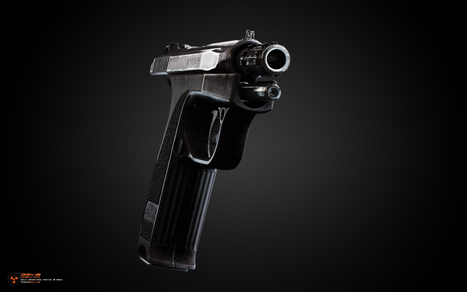 The GSh-18 is a rotating-barrel, short recoil, locked-breech pistol with 10 locking lugs spaced equally around the barrel, the large locking surface area resulting in a strong lockup making it suitable for high-velocity ammunition loads.