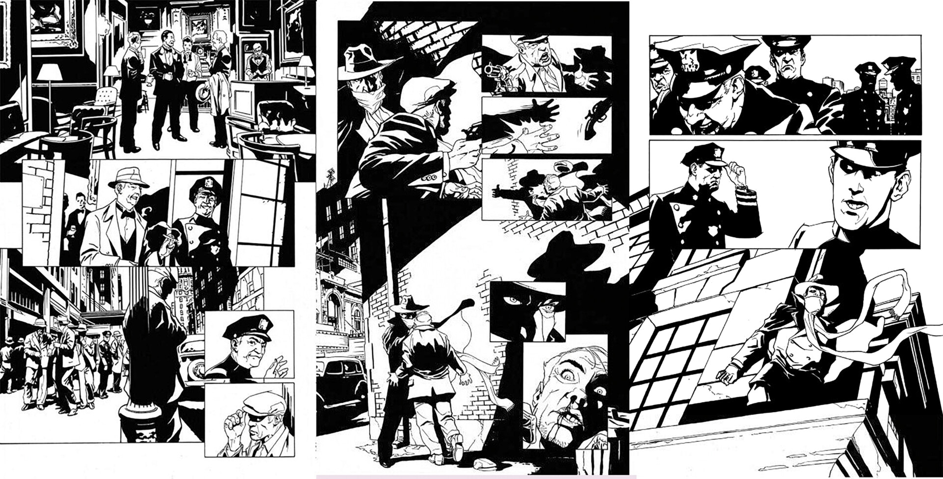 """Sequential Comic Book Pages """"The Shadow"""" - Original Ink by stevescott"""