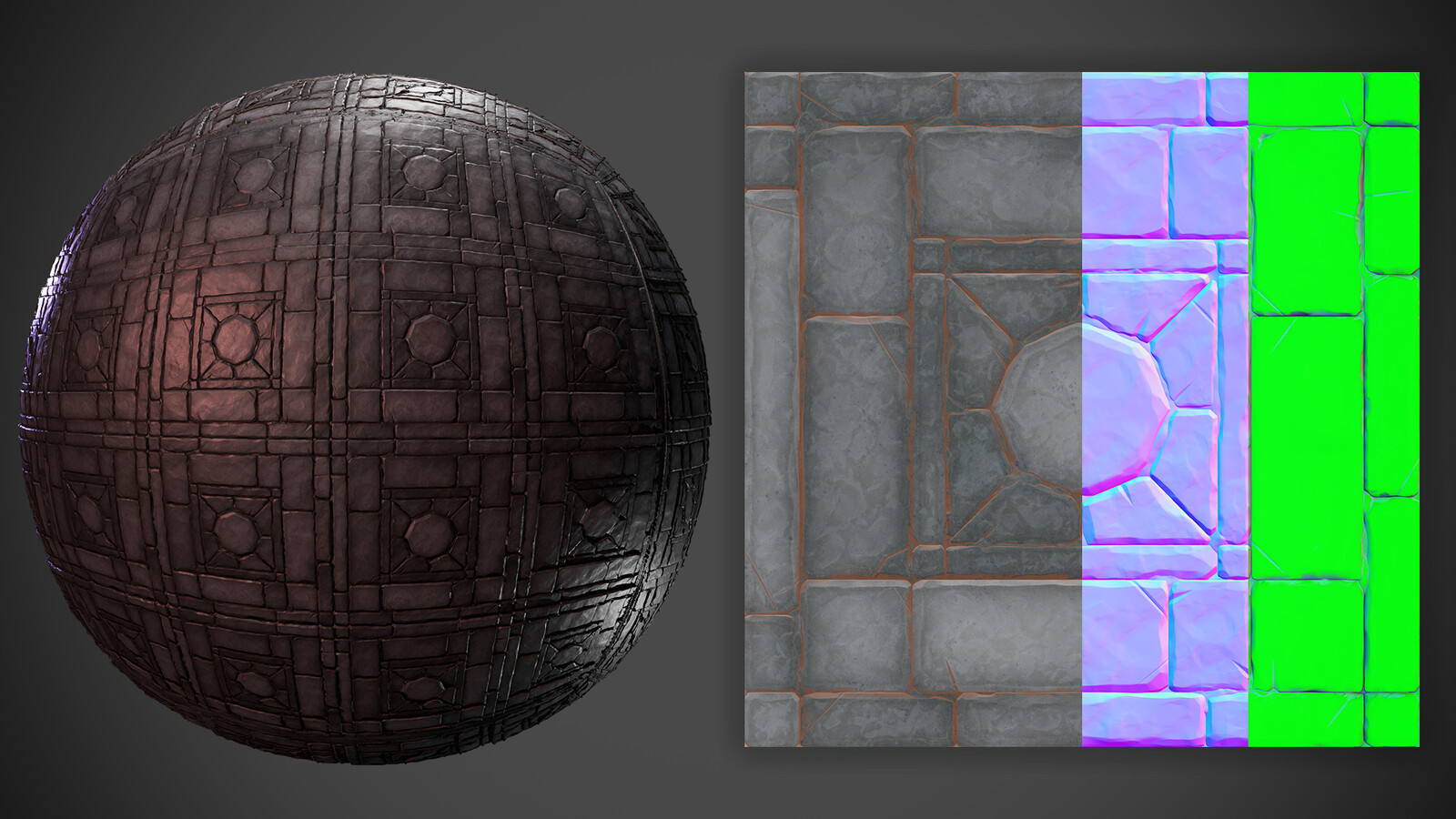 Tiled material With maps, Albedo, normal, Packed ORM