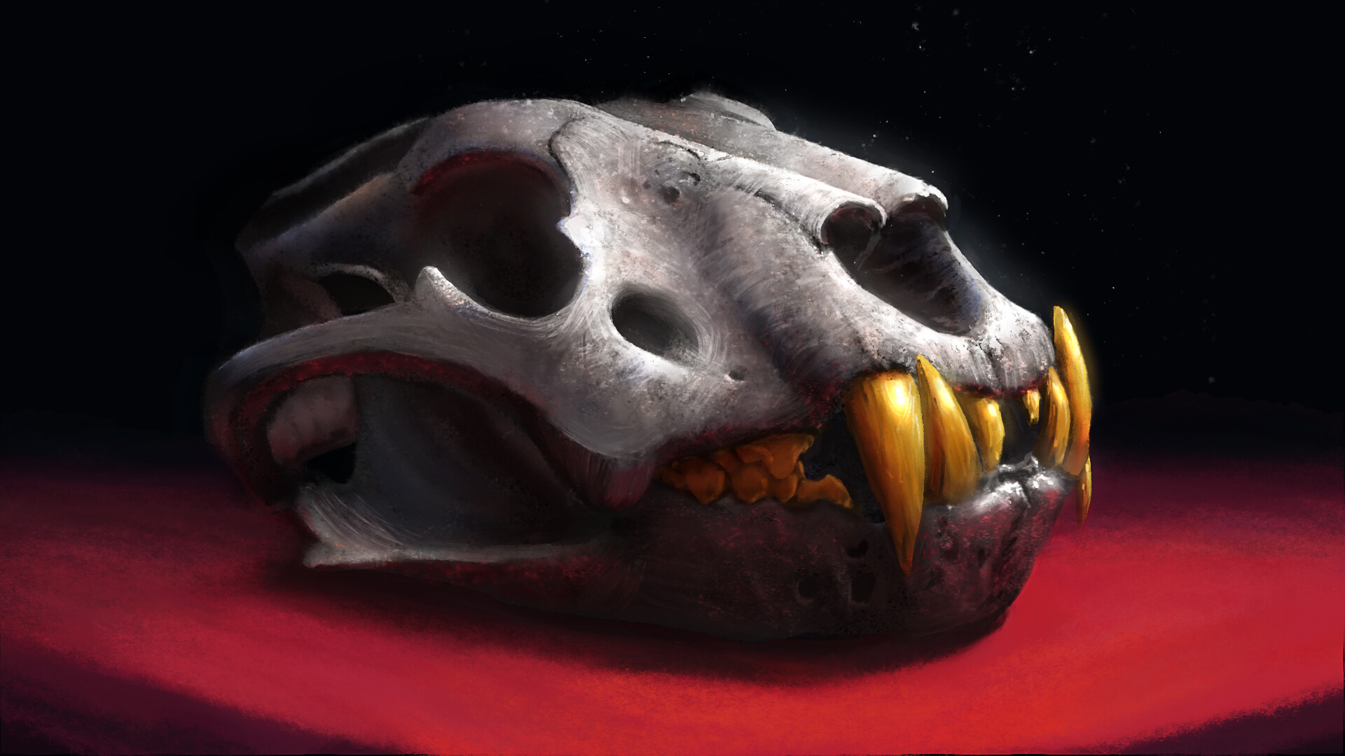 making a lion's skull look like it is made of iron and gold