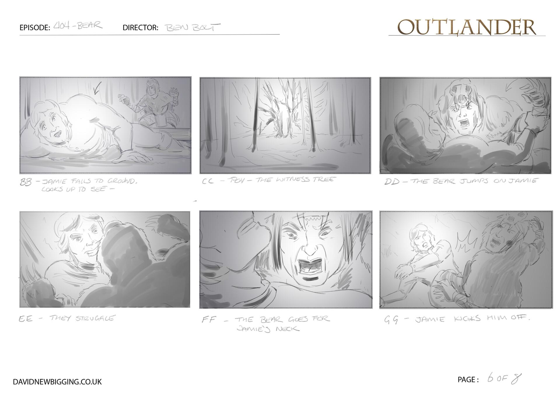 David newbigging outlander 404 bear sequence storyboards 6