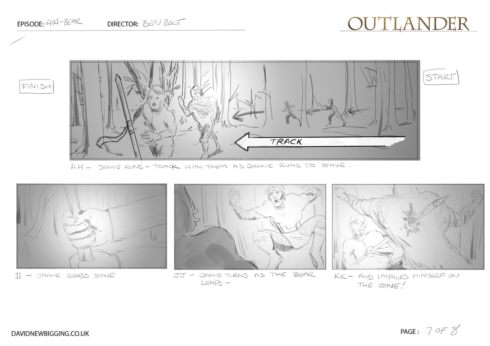 David newbigging outlander 404 bear sequence storyboards 7