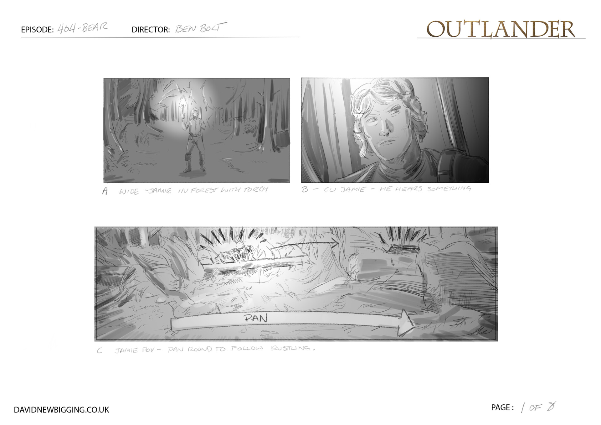 David newbigging outlander 404 bear sequence storyboards 1