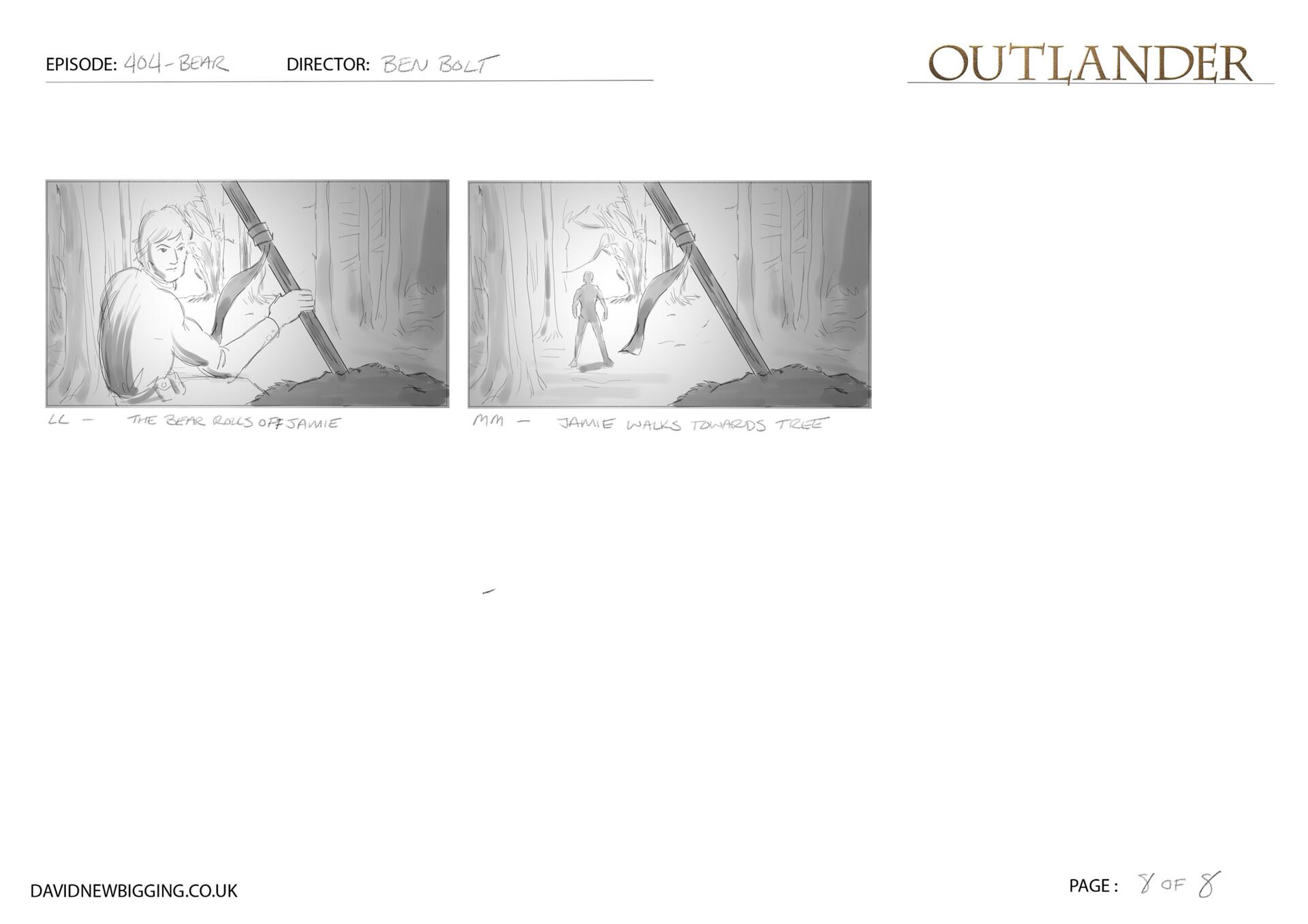 David newbigging outlander 404 bear sequence storyboards 8