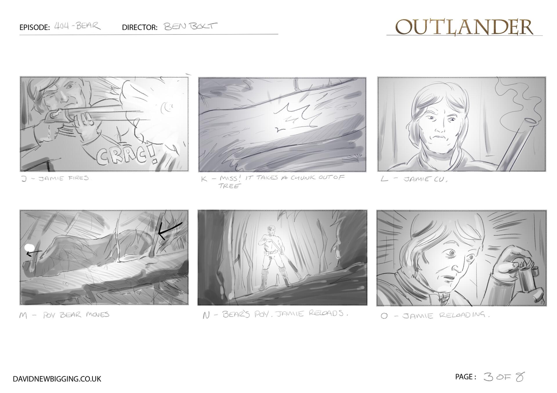 David newbigging outlander 404 bear sequence storyboards 3