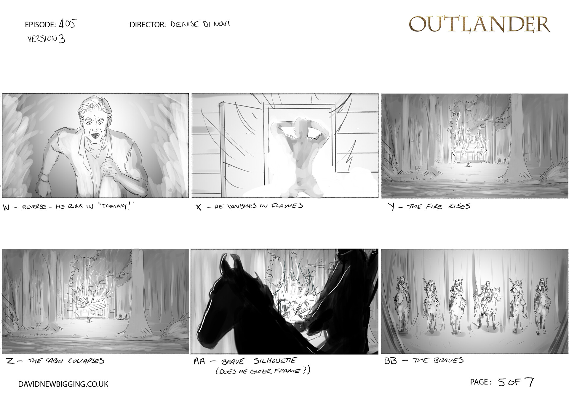 David newbigging outlander 405 cabin burning sequence storyboards version 3 5