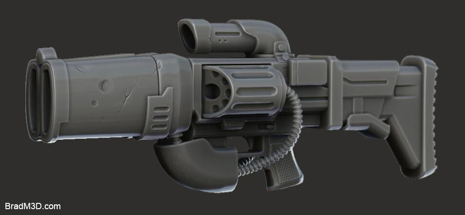 Gun High Poly: Zbrush Render_03