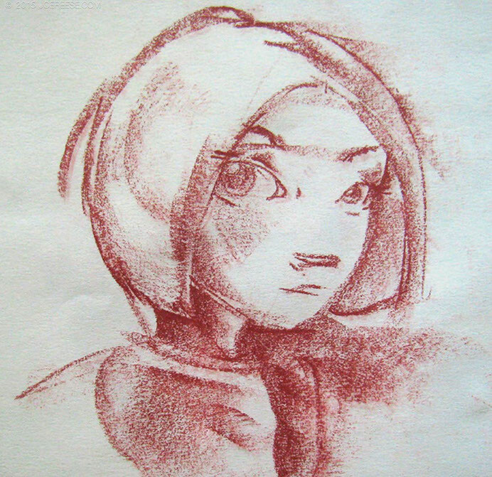 Sketch of a girl for a story