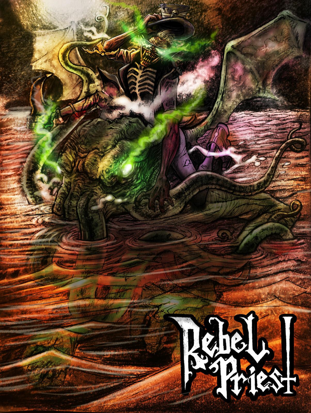 ilustration for Rebel Priest Band (https://rebelpriest.bandcamp.com/album/rlyeh-heavy)