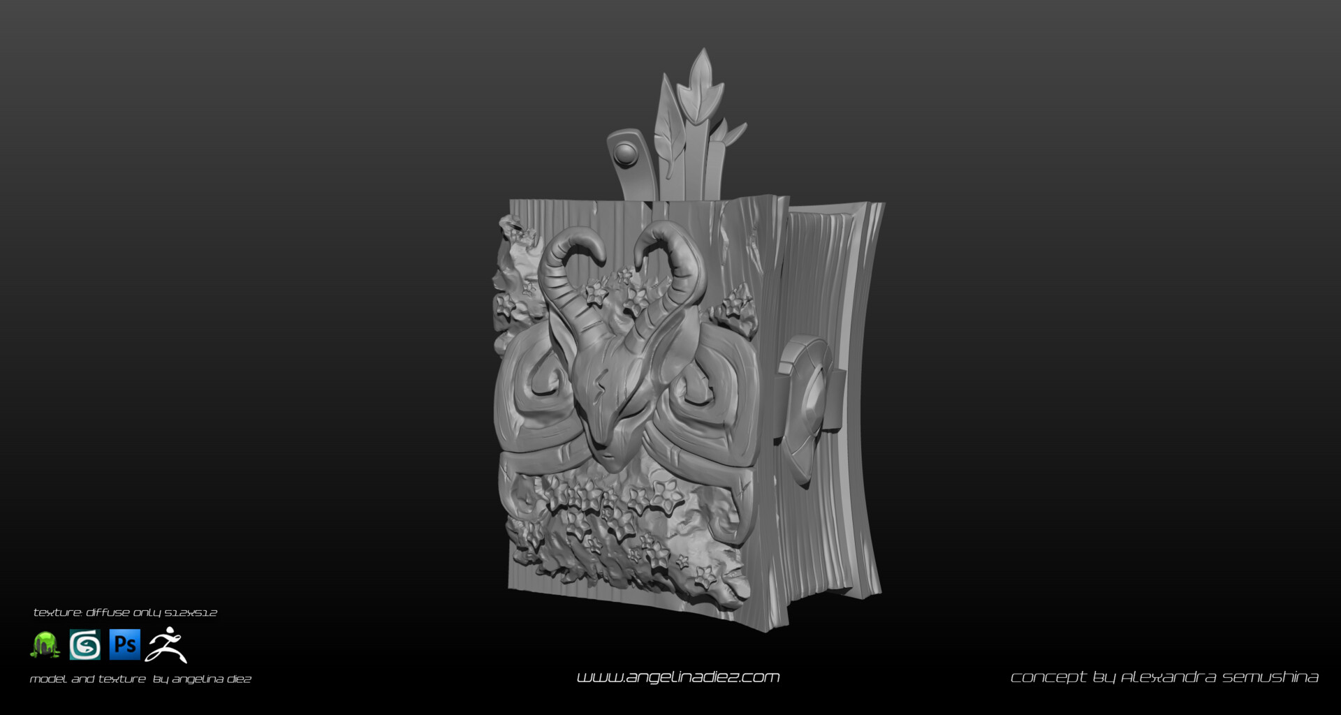 Angelina diez magic book zbrush