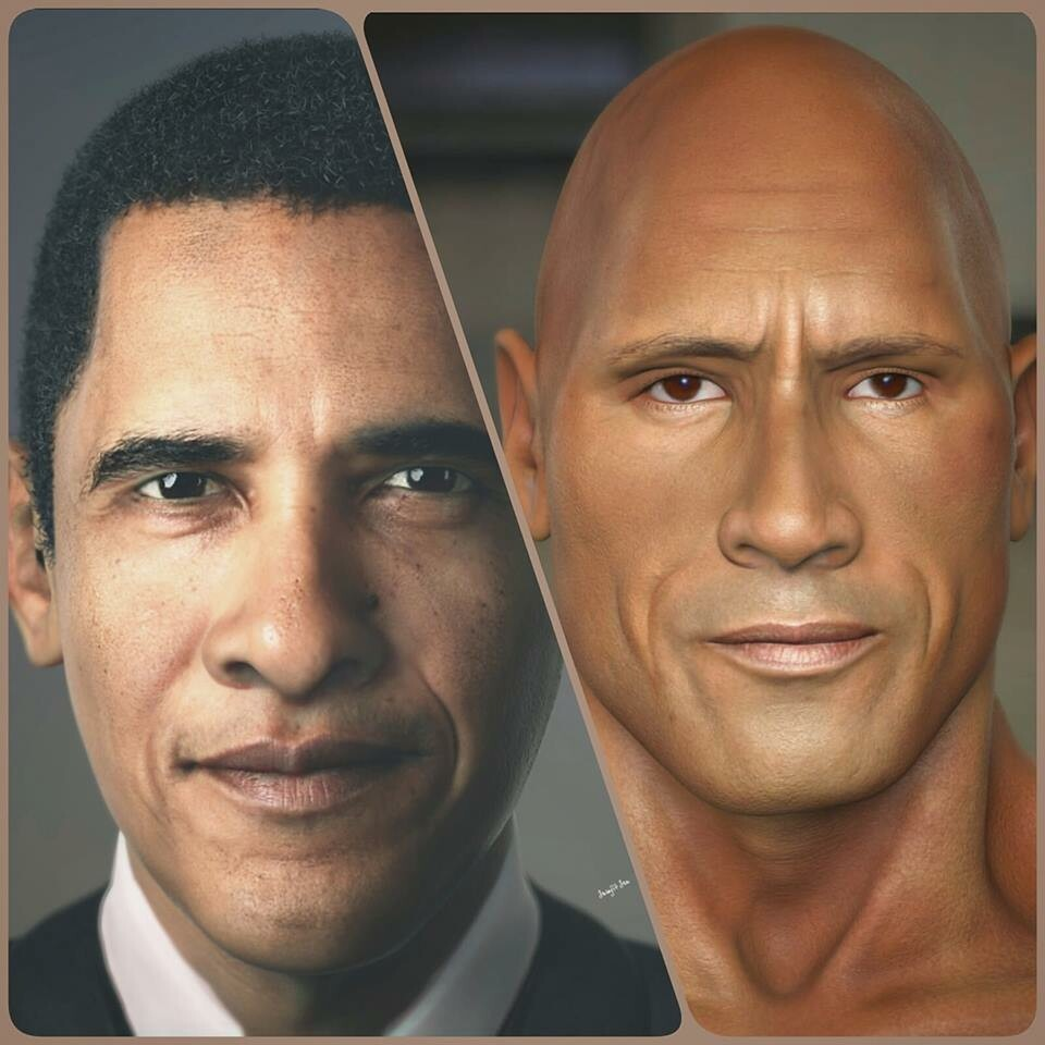 #cgcharacter #portrait My personal study works . .. Mr.President and Dwayne Johnson.