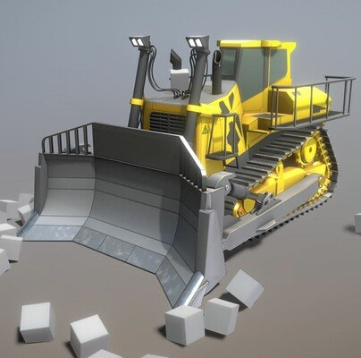 Dennis haupt rigged bulldozer low poly version by 3dhaupt 3