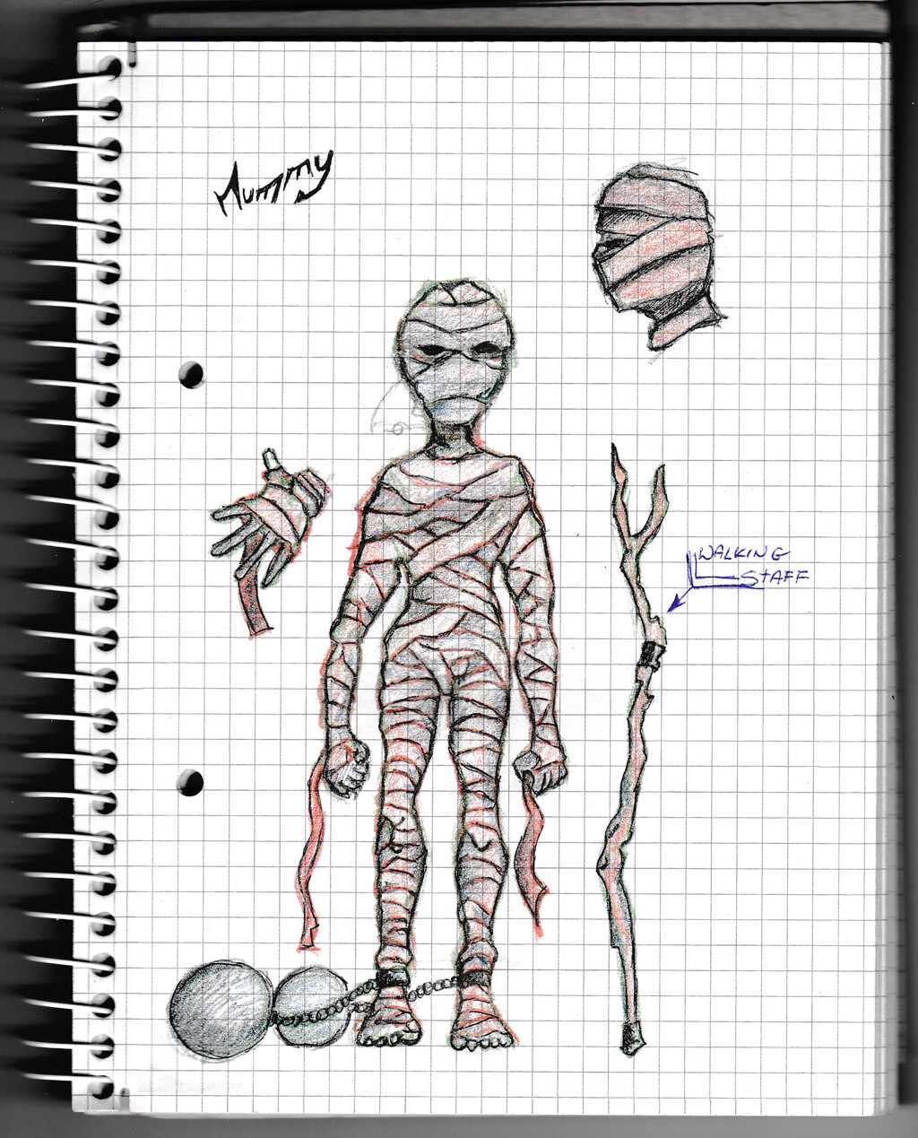 character, sketch, pencil, monster, creature, mummy,