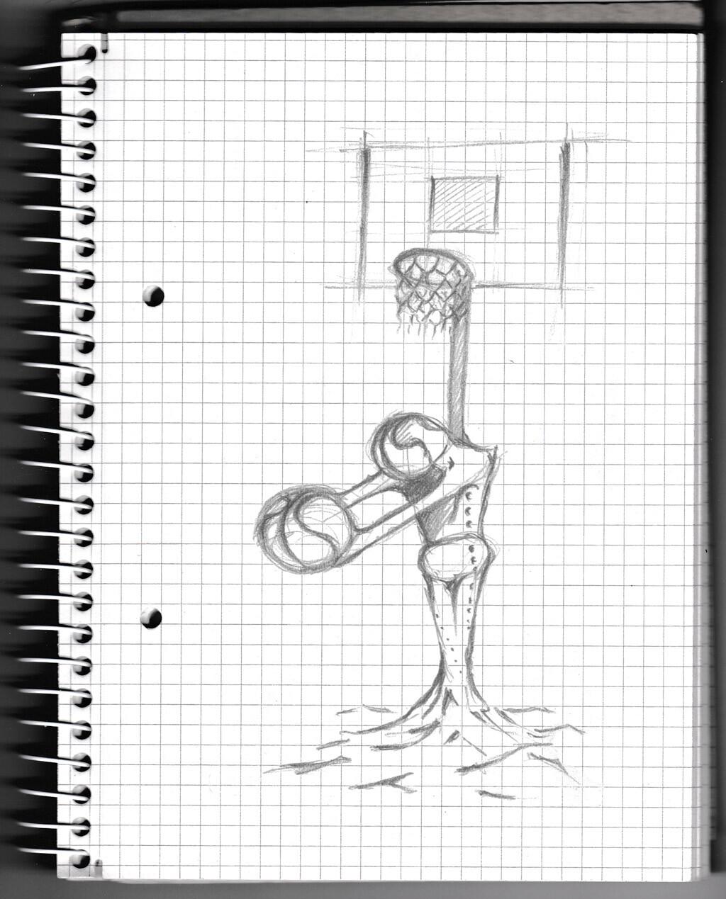 basketball, sketch, pencil,