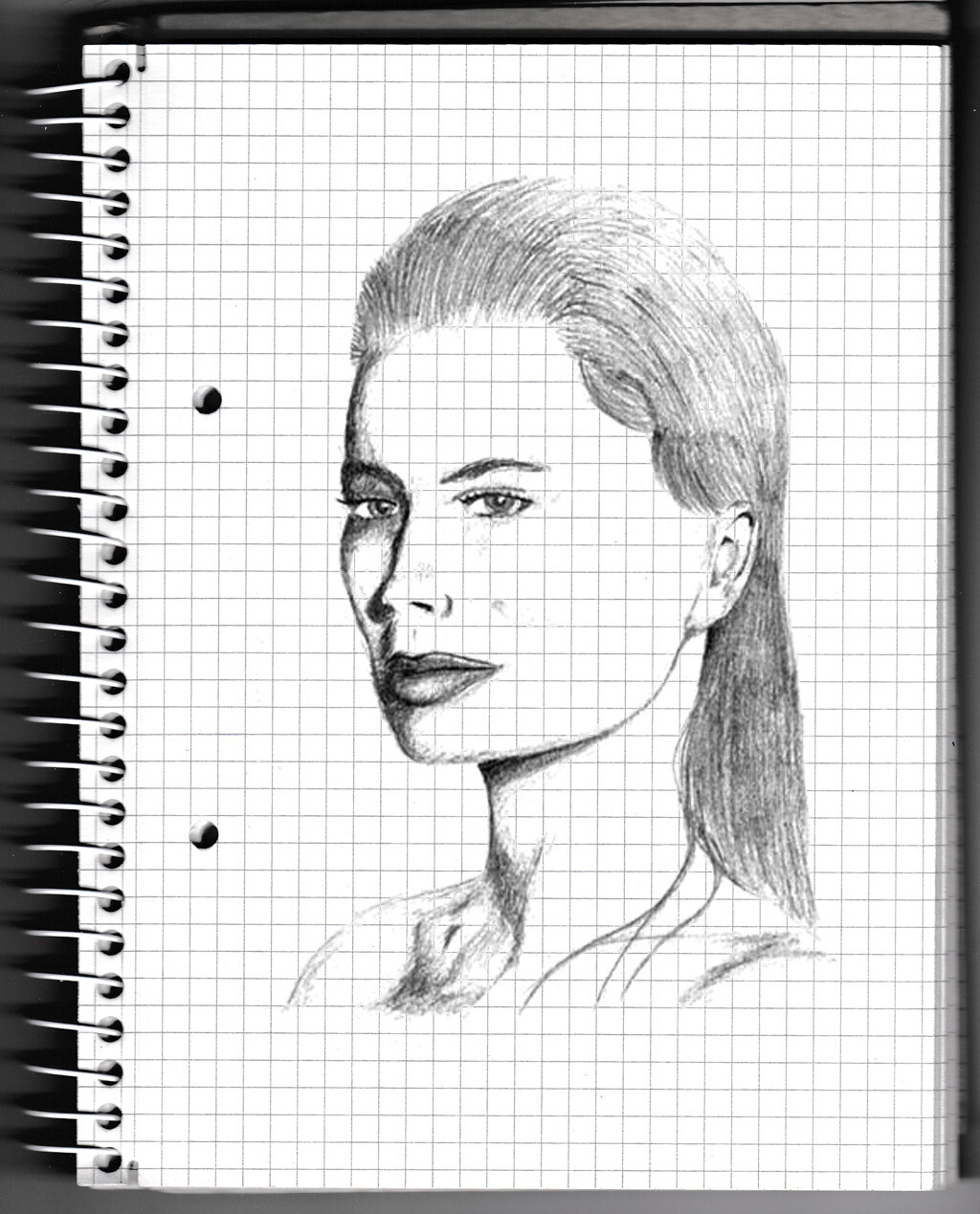 character, sketch, pencil, face, lady,