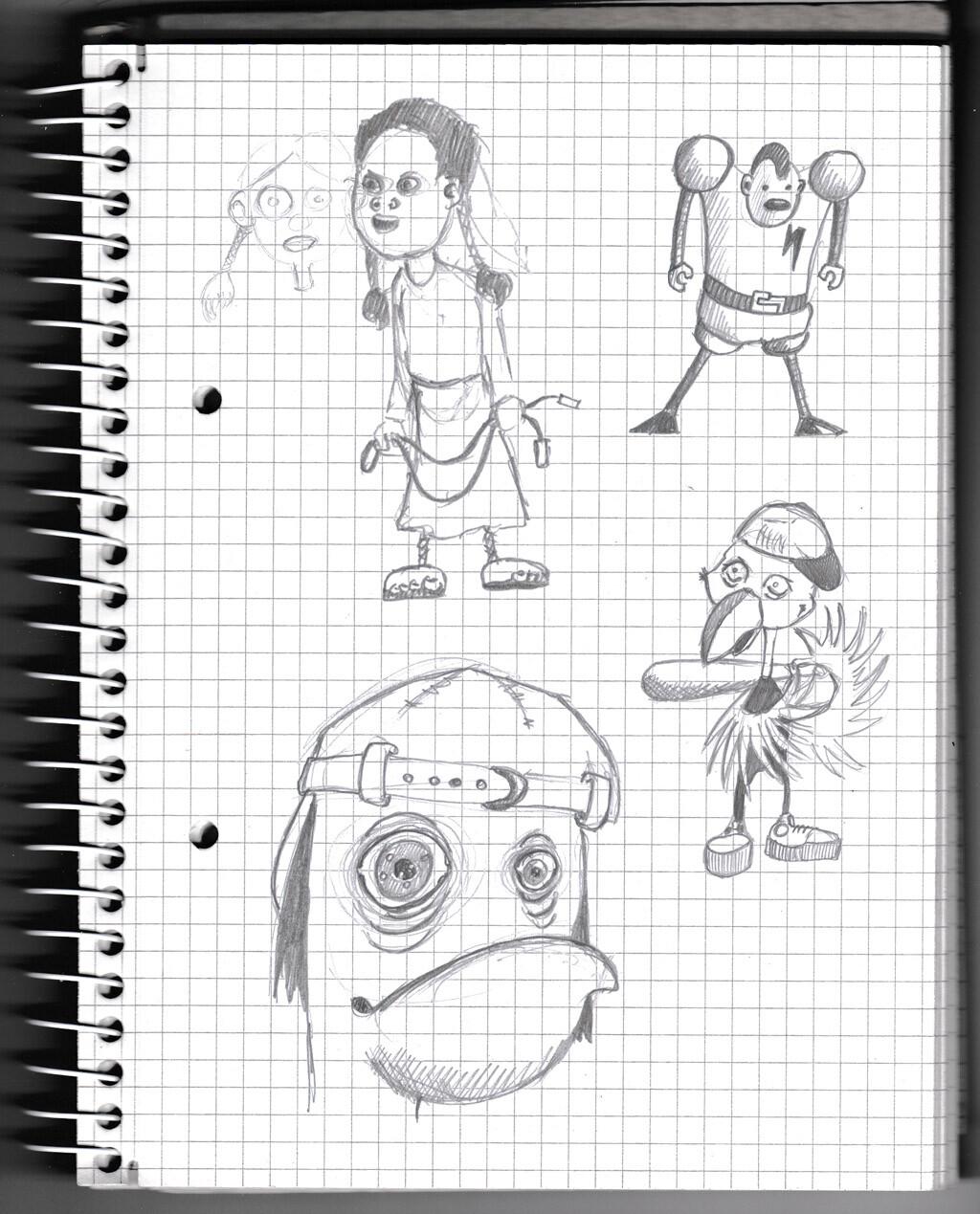 character, sketch, pencil, monster, creature, girl,