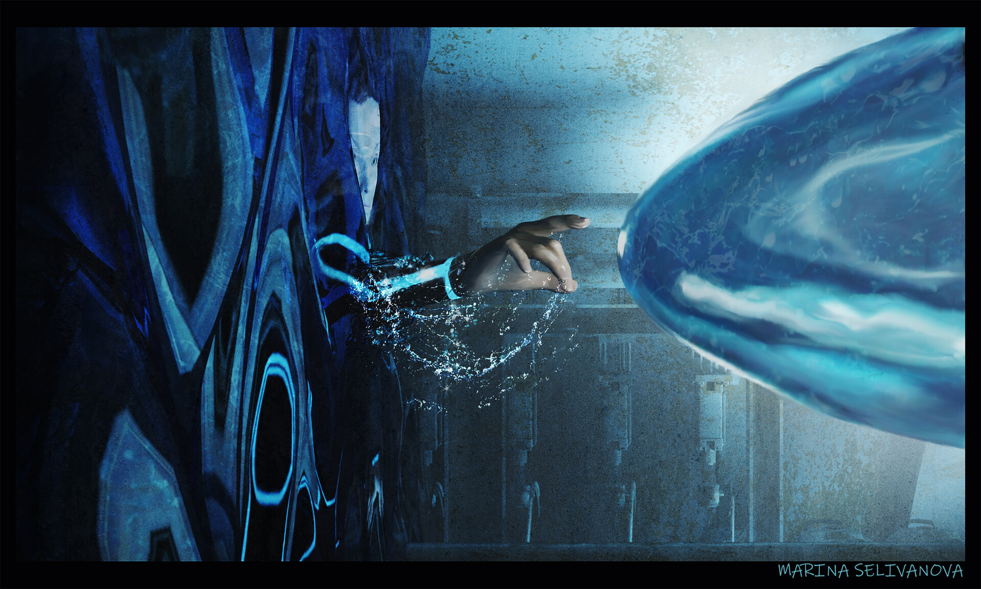 Alien being stops the water. Behind the wall of water remained the heroine who wants to touch the creature.