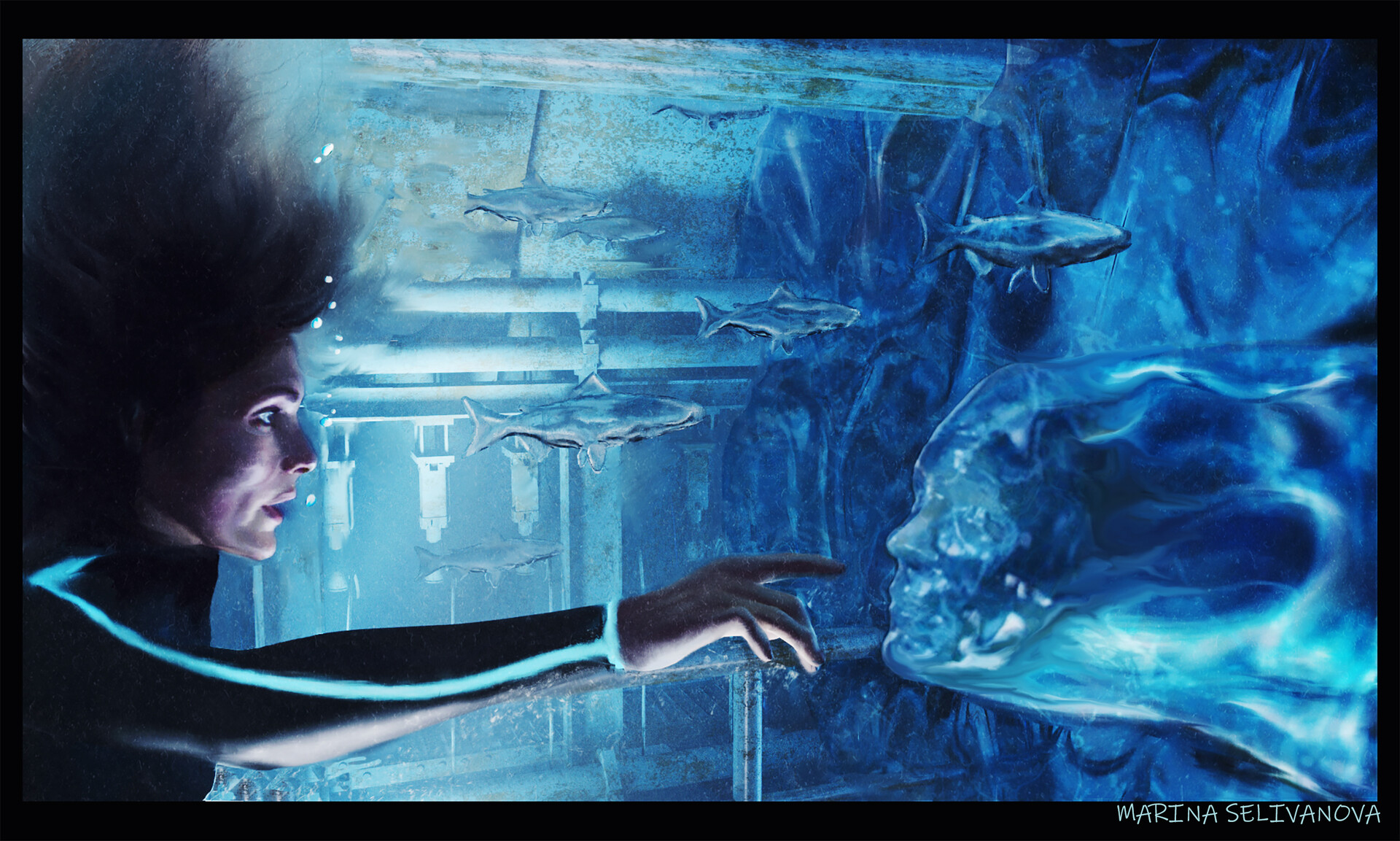 The alien being enters the water column to the heroine and takes on the image of the heroine.