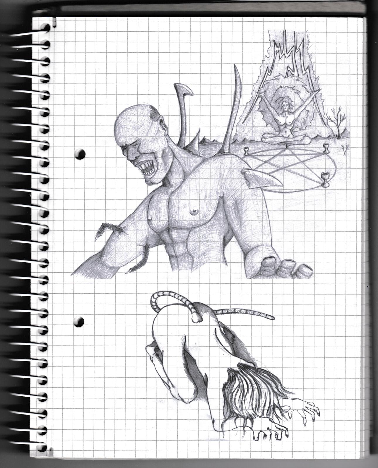 character, sketch, pencil, monster, creature, psychodelic, fantasy, anatomy,