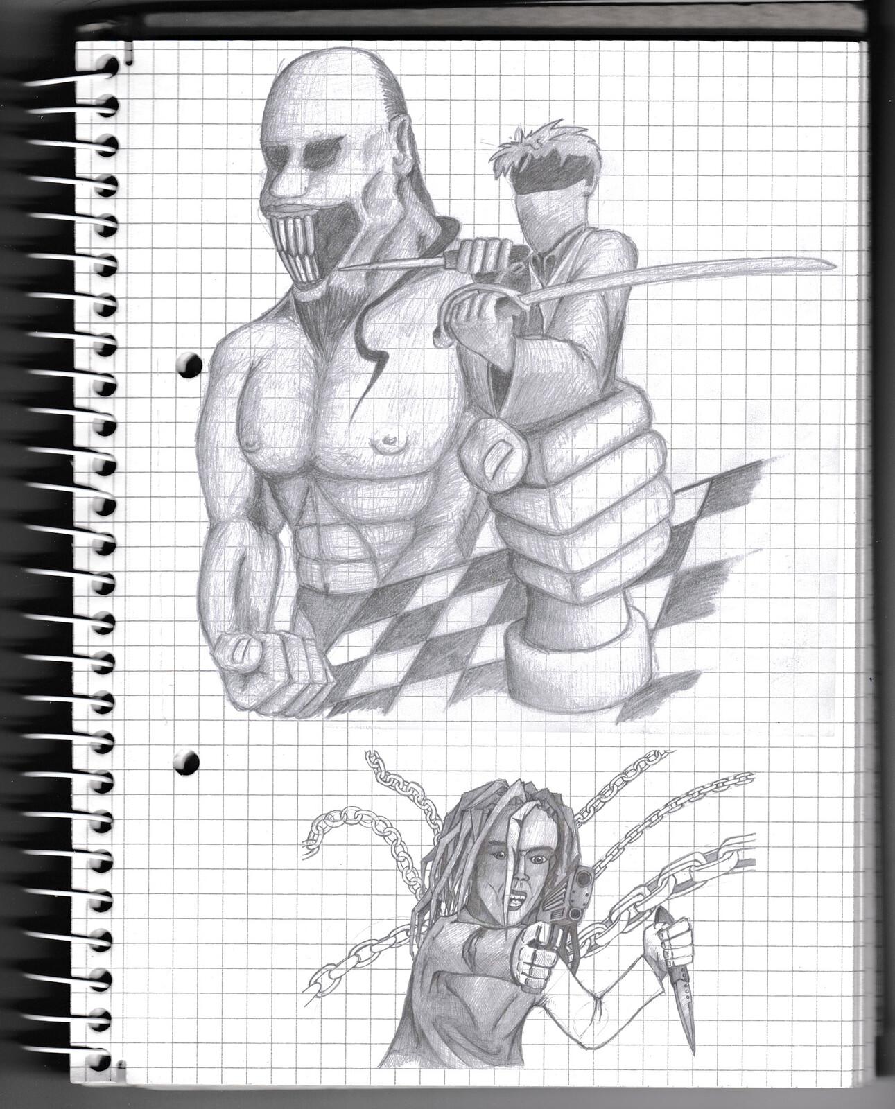 character, sketch, pencil, monster, creature, psychodelic, warrior,