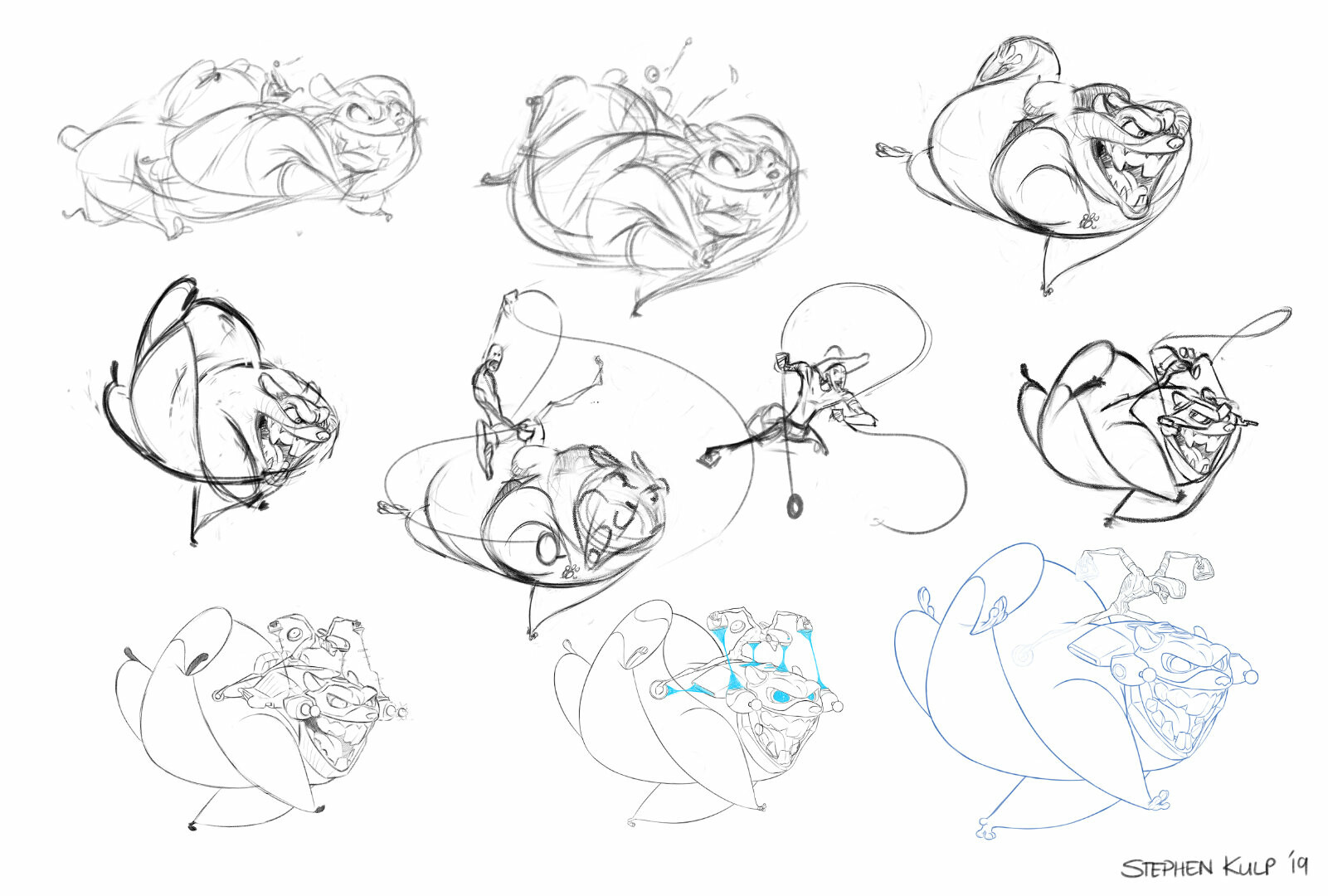 I still love the second sketch in the top row, as it has so much energy. Next time I'll try and keep the energy all the way to the end....