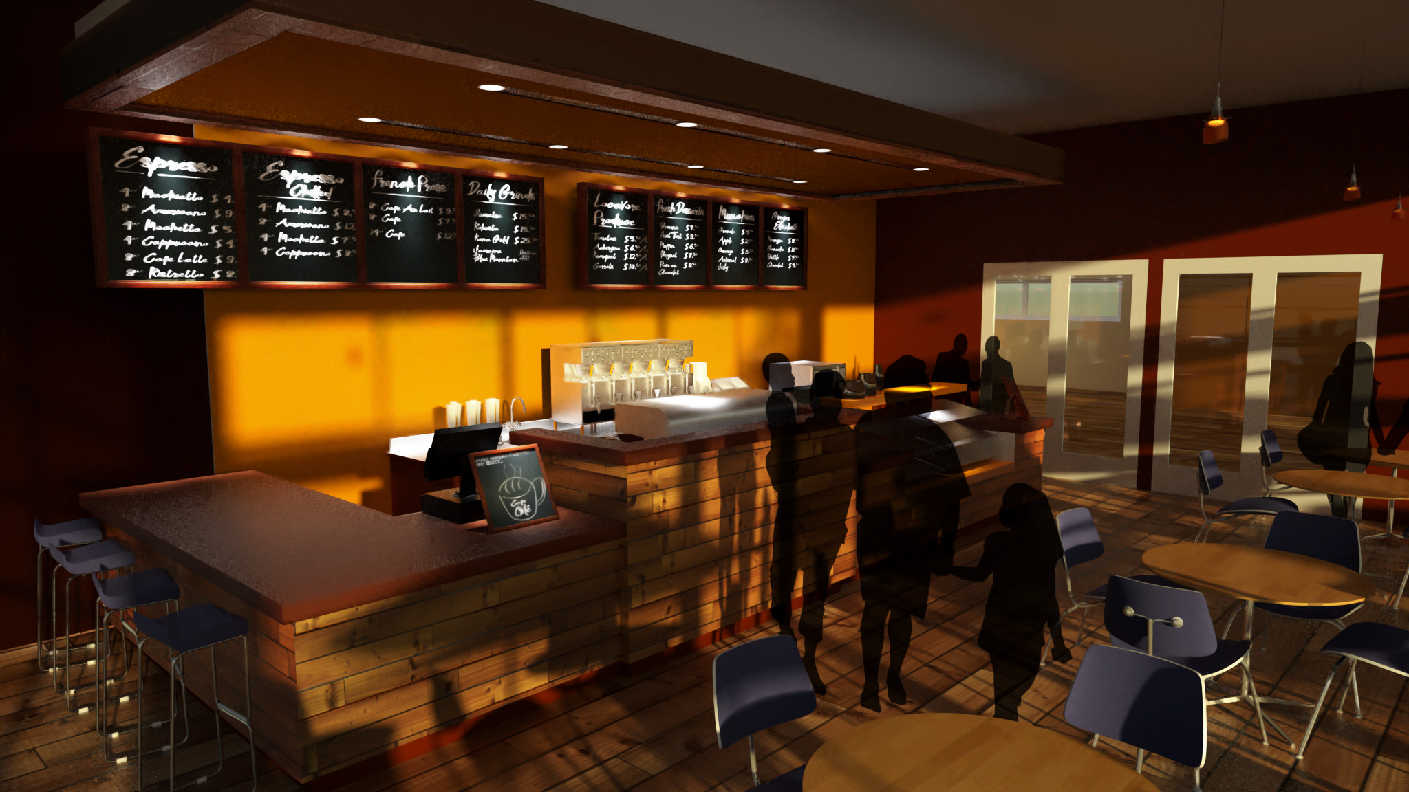 Old work - a quick WIP preview render of Lavender Court project's café space, from very early in that project's life cycle.
