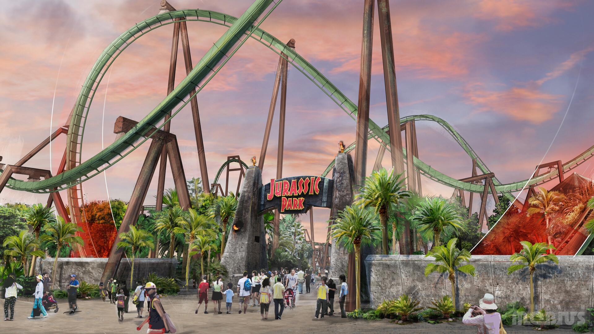 Concept artwork of Jurassic Park Land entrance