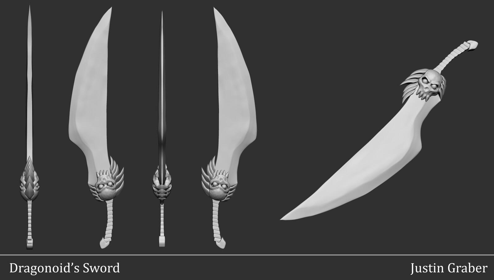 in-progress sword sculpt
