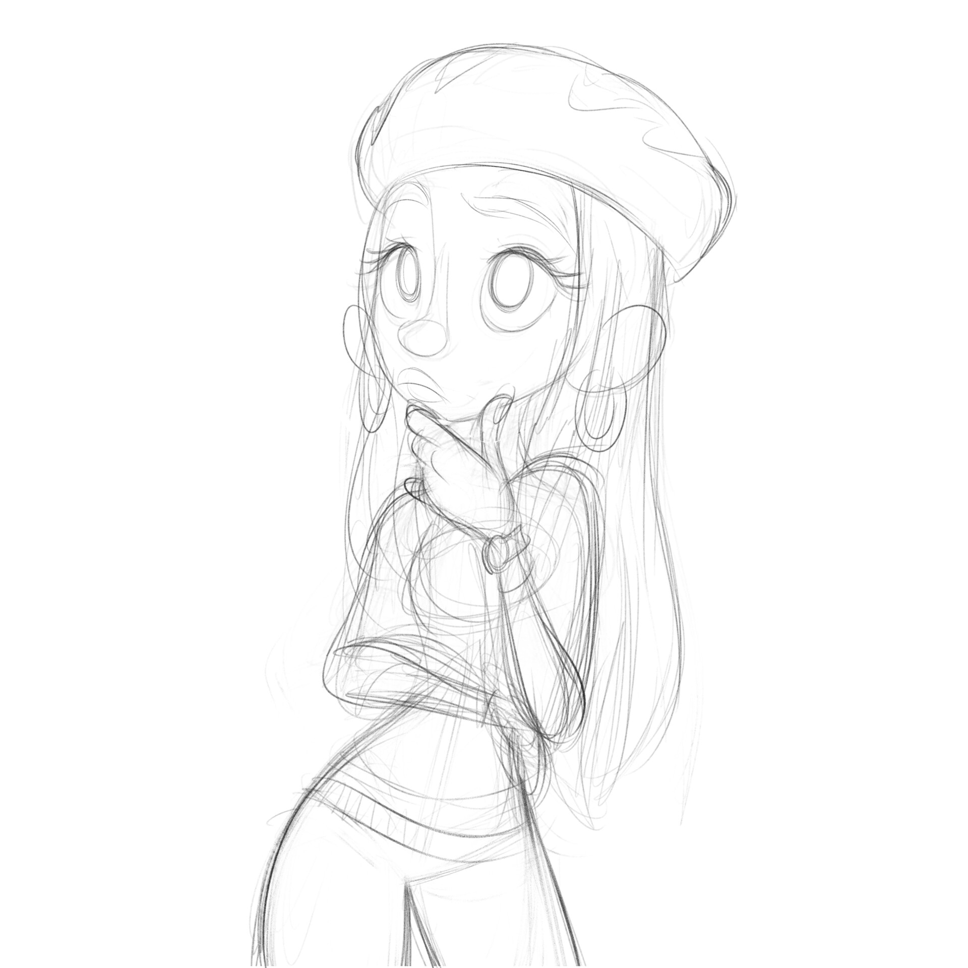 Luigi lucarelli lady thinking sketch