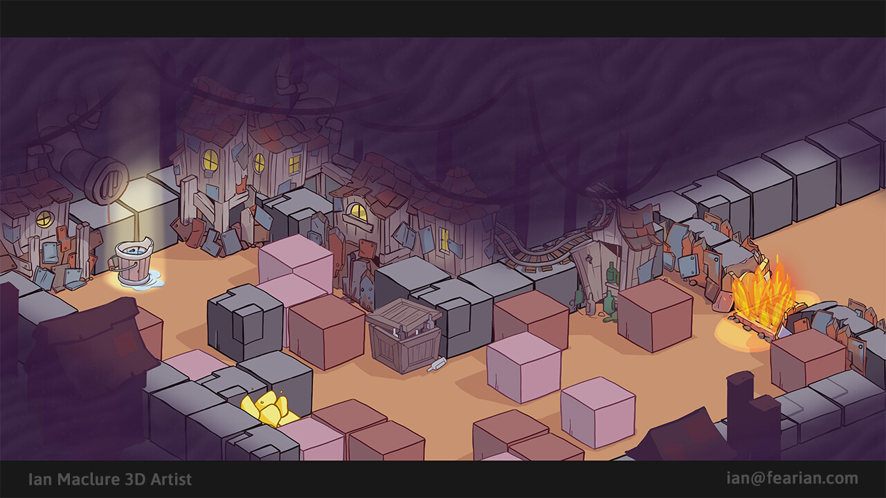 This was an early concept to explore how the decorations and mechanics would be implemented on top of a normal mine level.