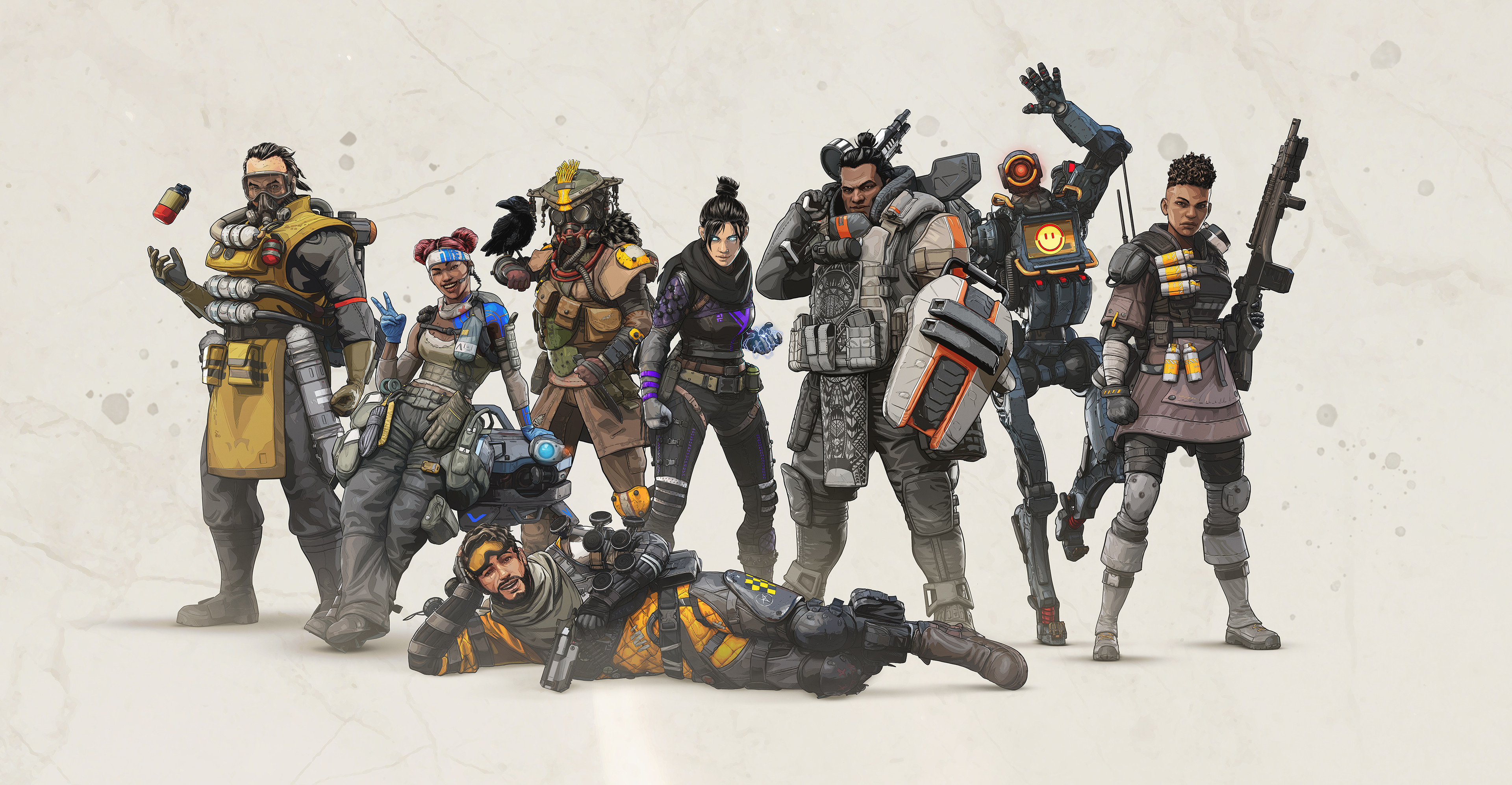 Full cast lineup at launch for Apex Legends.