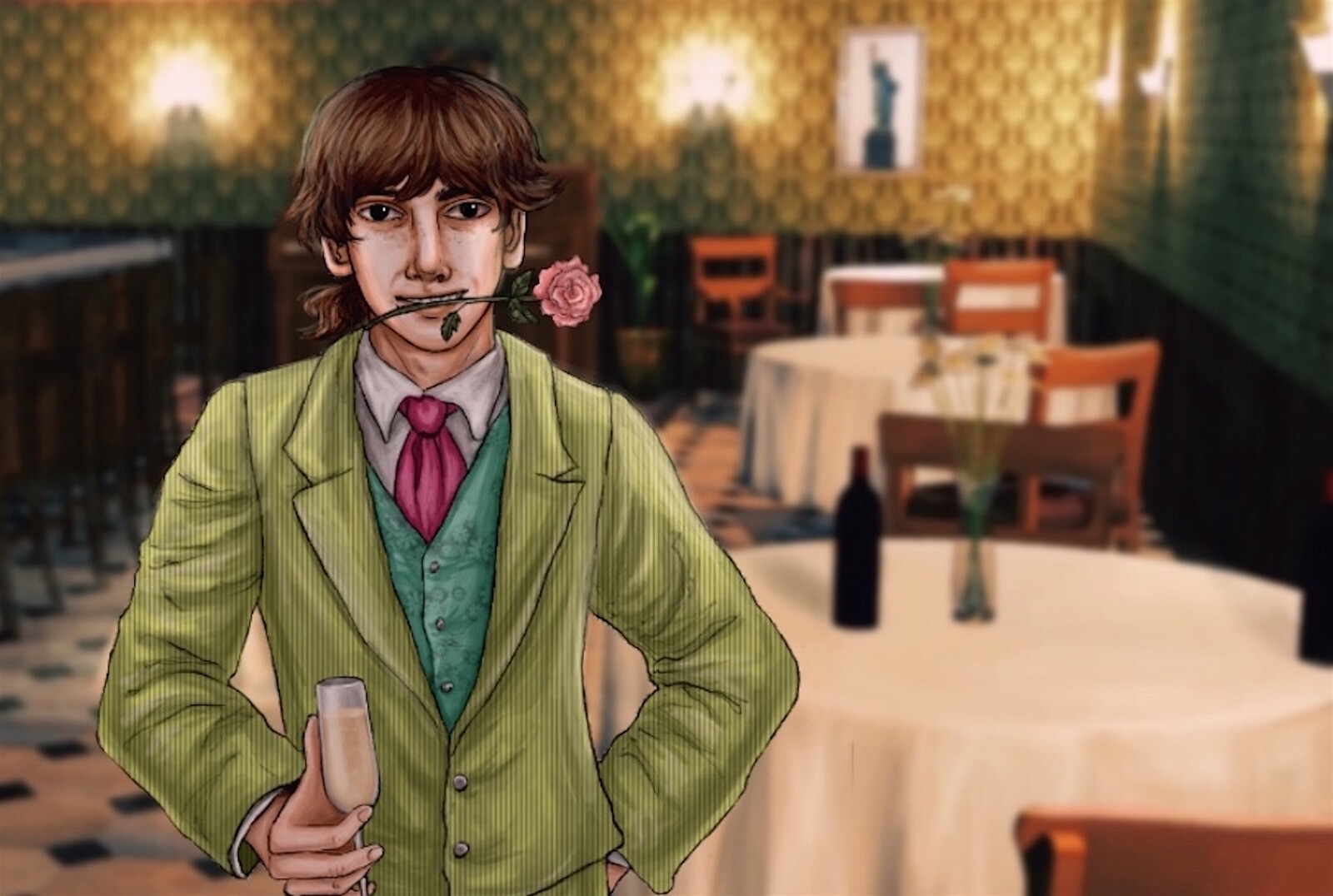 """Our finished promotional art featuring the protagonist, Sam, in the  speakeasy  for our indie visual novel """"Sam in New York.""""  Follow us @fortunusgames on Twitter and Instagram for more news!"""