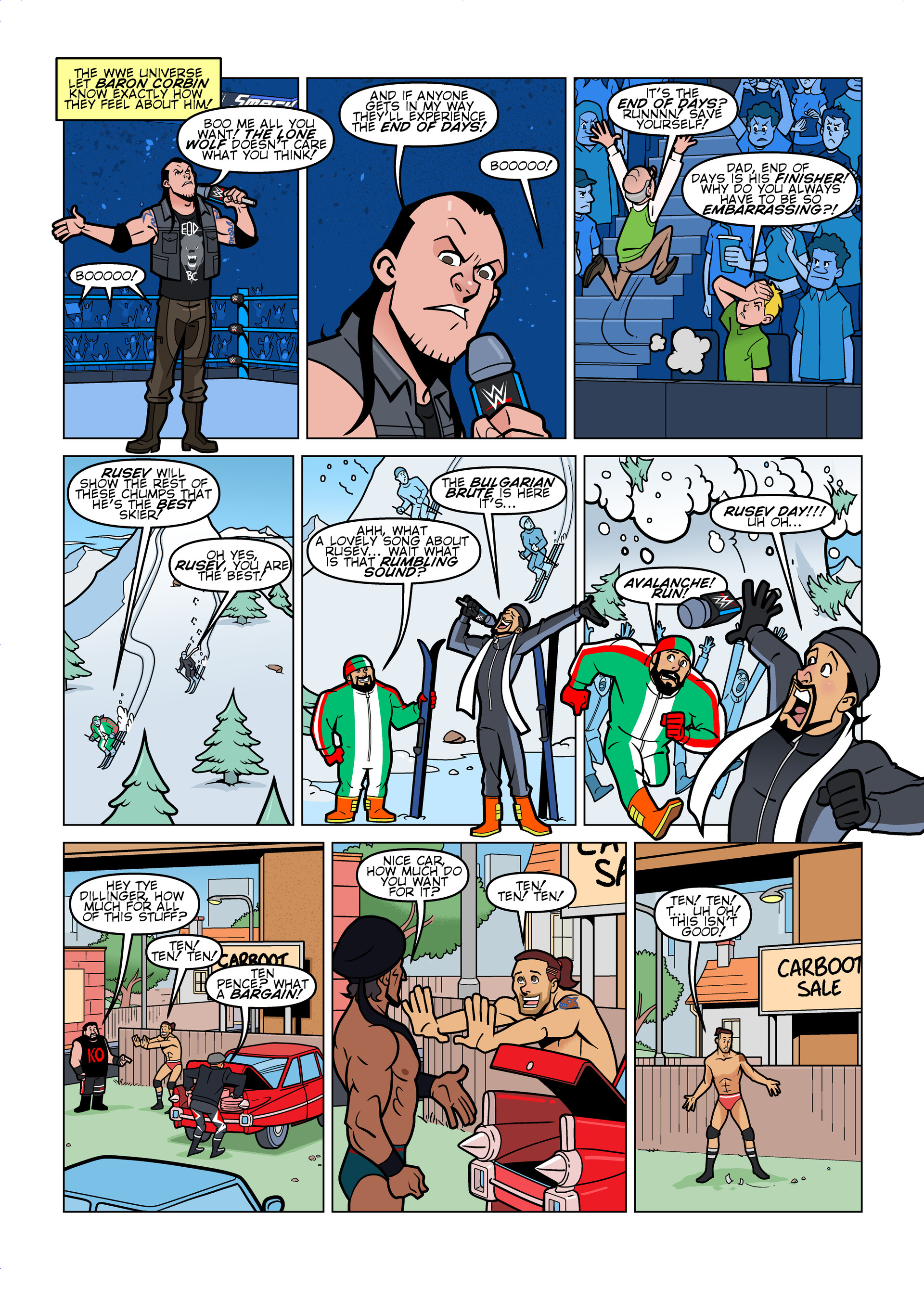 WWE Smackdown Live comic strips for WWE Kids Magazine #135