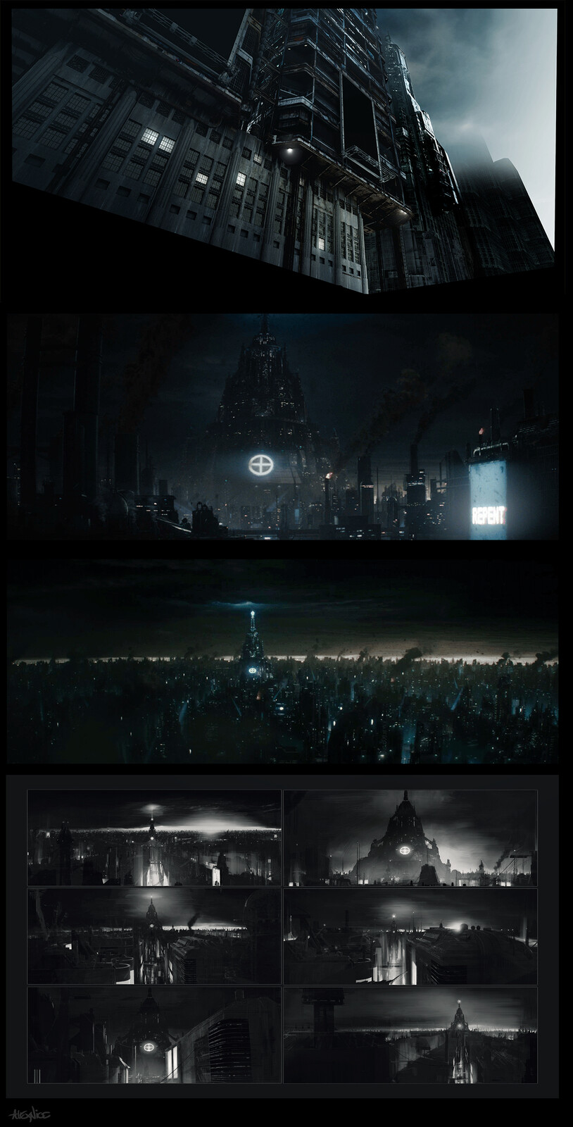 Priest film environment matte and concept work