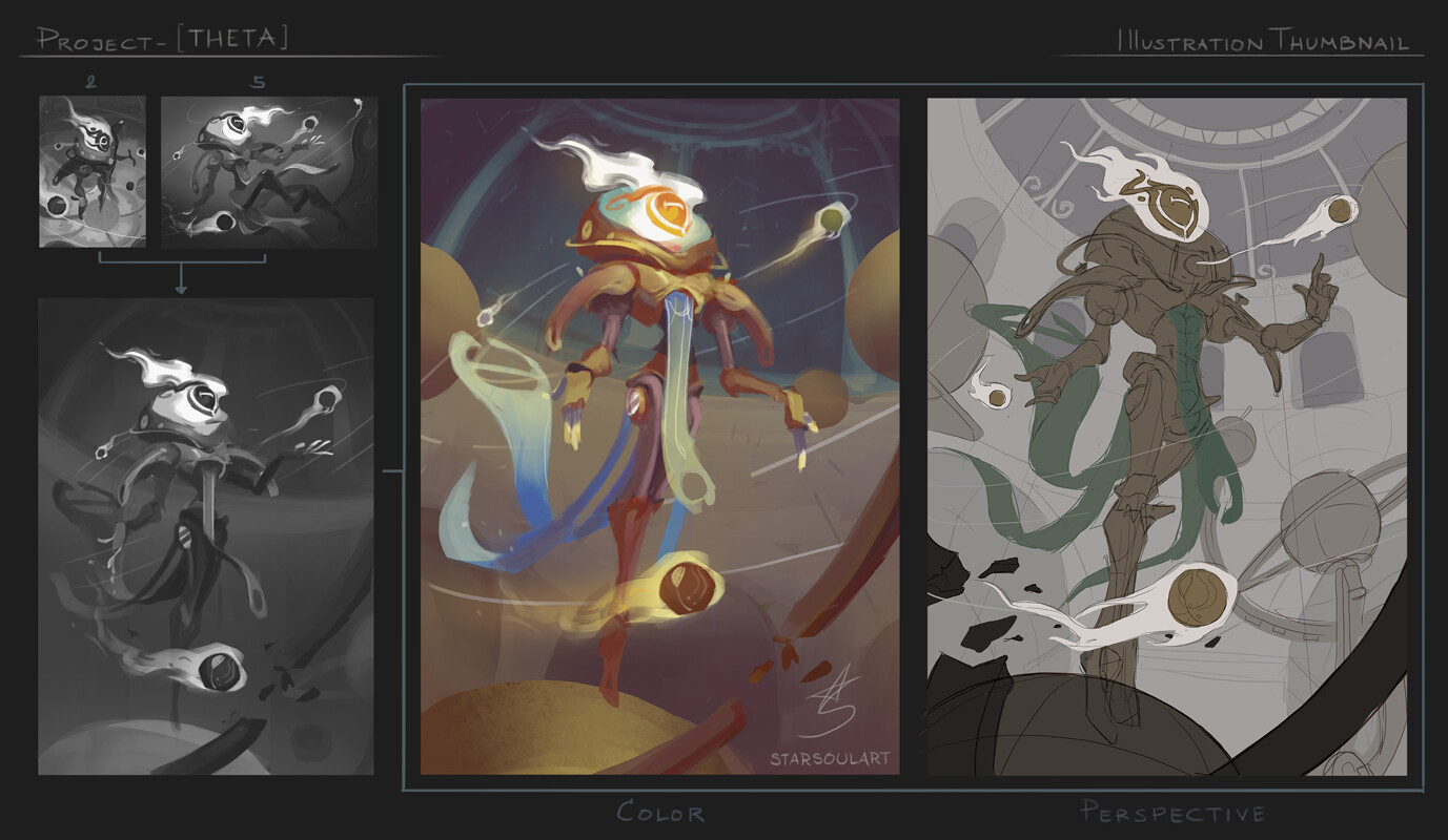 Mixed Thumbnail. I chose according to the character personality and more importantly, time constraint.