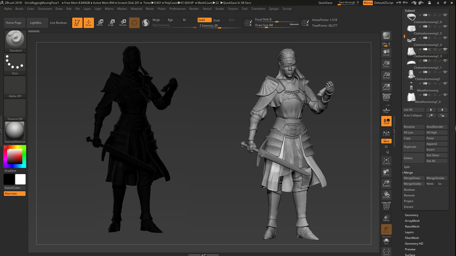 Zbrush silhouette posing - Done with Transpose Master