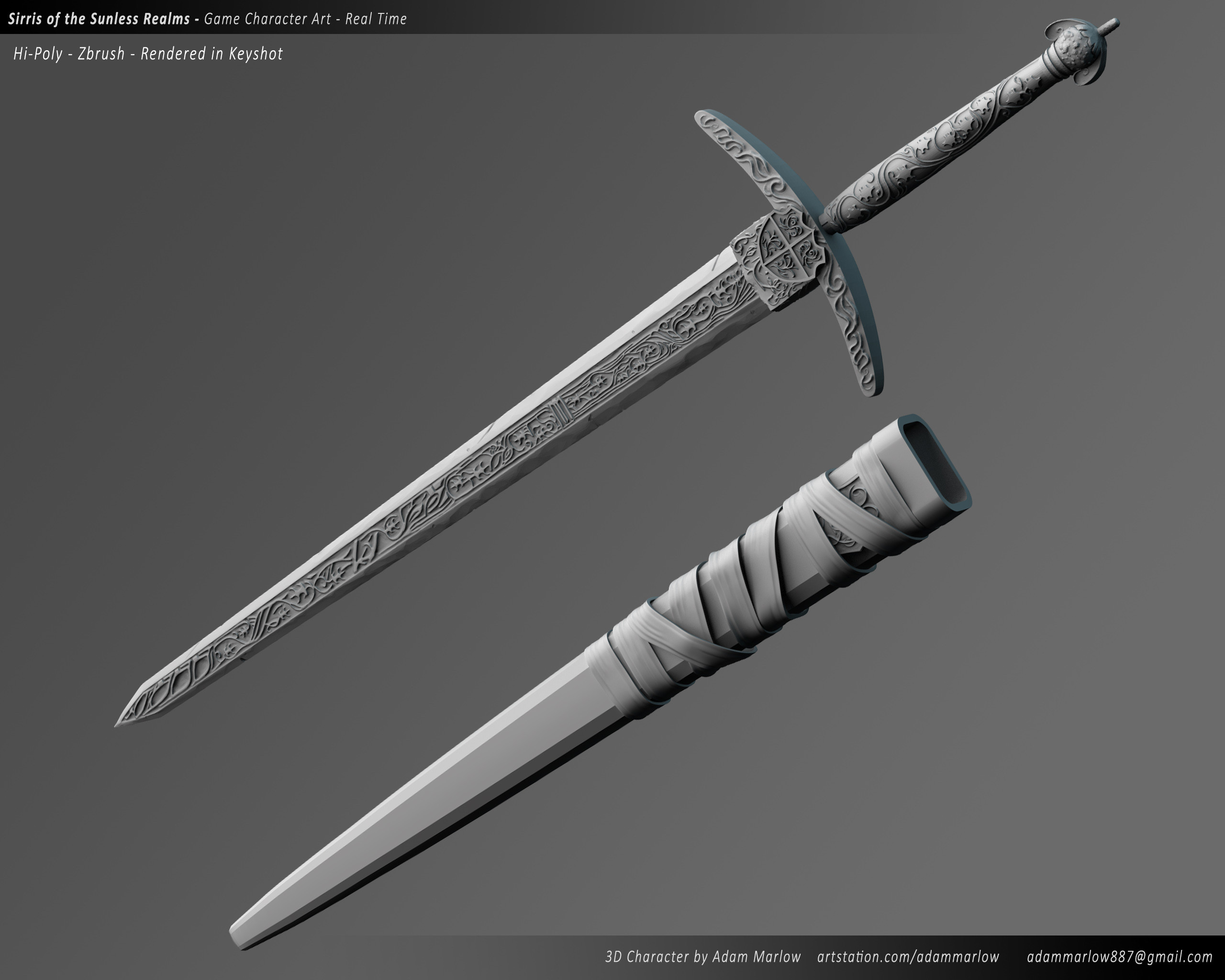 Sword Clay render from Keyshot - Made in Zbrush
