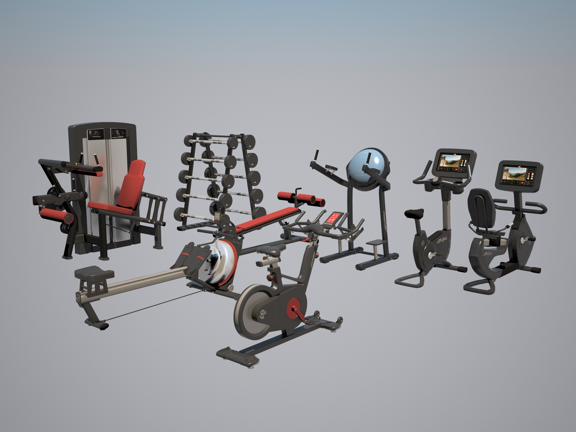 Gym equipment from Life Fitness.