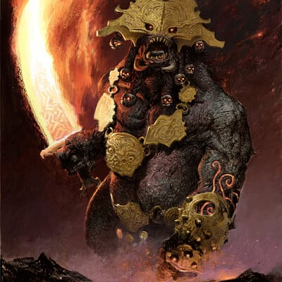 Adrian smith fire giant illo colour lo