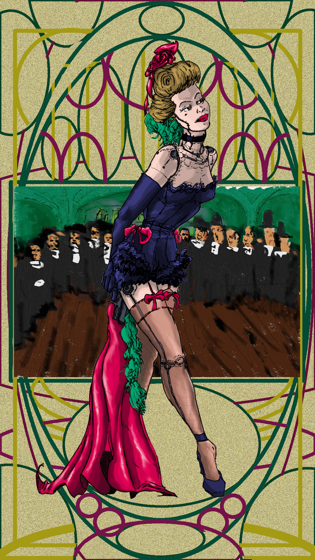 Cyborg Chorus Girl avec Toulouse-Lautrec