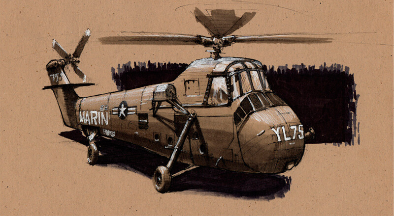 Helicopter | Ink & Markers