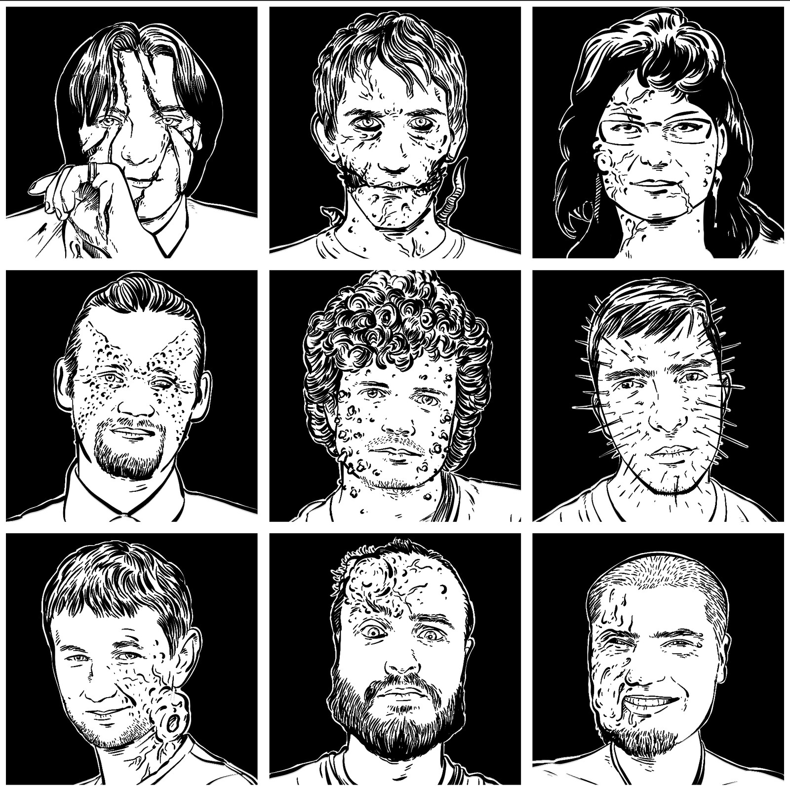 Portraits of horror writers for anthology